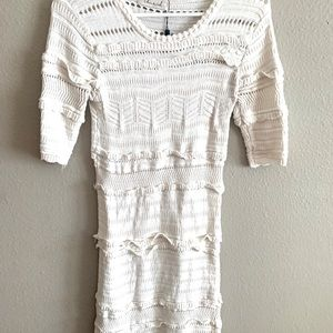 White short sleeve crochet dress